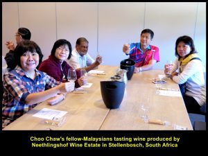 Fellow-Malaysians tasting wine