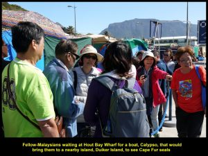 Fellow-Malaysians waiting for a boat. Calypso, to take them to Duiker Island to see seals