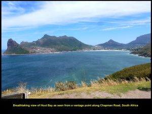 Spectacular view of Hout Bay as seen from a distance on a high ground of Chapman's Peak