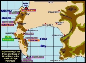 Map showing Cape Point and Cape of Good Hope
