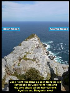 Two oceans, Atlantic Ocean and Indian Ocean next to each other in front of Cape Point Headland