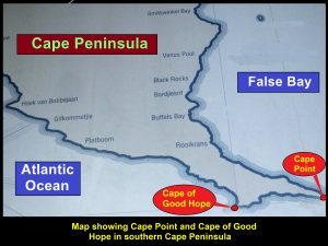 Map showing Cape Peninsula splits into two promontories in the south, Cape Point and Cape of Good Hope
