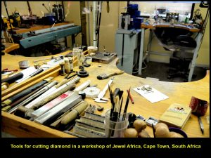 Diamond cutting tools in Jewel Africa workshop