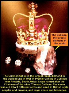 The largest diamond, The Cullinan, weighed 605 grams and used in British crowns and spectre, and royal members' jewellery.