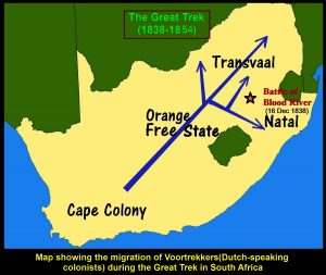 Map showing the routes of the Great Trek(1835-1854) taken by the Voortrekkers