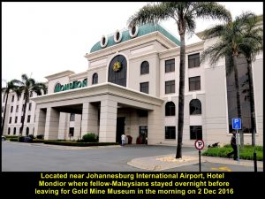Hotel Peermont Mondior where Malaysians stayed overnight near Johannesburg International Airport