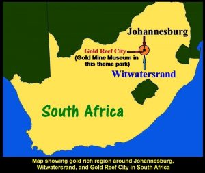 Map showing gold rich area, Witwatersrand, and Gold Reef City Theme Park