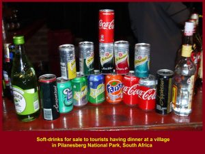 Soft-drinks for sale to diners