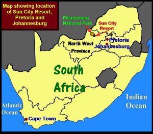 Map showing location of Sun City, Pretoria and Johannesburg