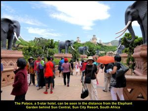 The Palace can be seen in the distance from the Elephant Garden, Sun Central, Sun City Resort