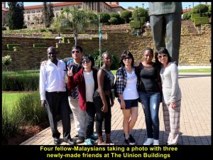 Four fellow-Malaysians make new friends at Union Buildings, Pretoria, South Africa