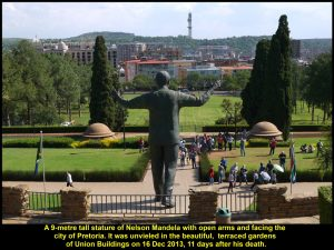 The statue of Nelson Mandela facing the picturesque City of Pretoria