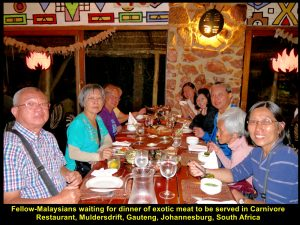 Fellow-Malaysians at another table were in happy mood before dinner of exotic meat at Carnivore Restaurant.