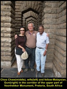 Choo Chaw, wife and Guni(a fellow-Malaysian) in the corridor of the top of Voortrekker Monument on 1 Dec 2016