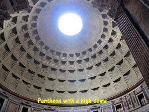 Top of the Pantheon dome allows light to pass through.