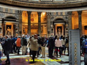 Visitors in the interior of Pantheon