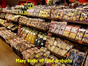 Many kinds of foodstuffs at the shop