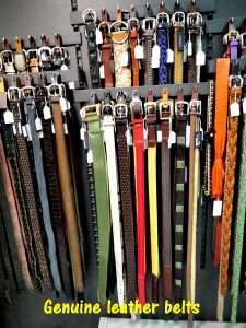 Genuine leather belts in showroom