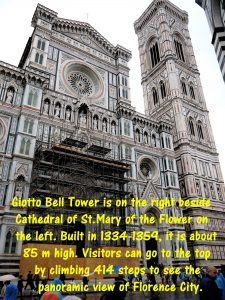 Giotto's Bell Tower next to Cathedral of St. Mary of the Flower in Florence Cathedral Square