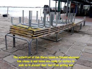 Tables on the waterfront are ready to be used by visitors if there is flood