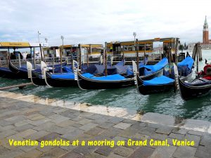 Venetian gondolas at a mooring on Grand Canal, Venice