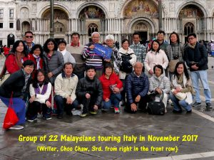 Malaysian tour group visiting St. Mark's Square on 6 Nov 2017