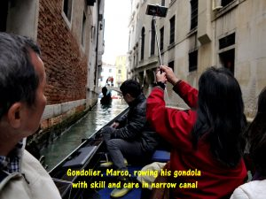 Gondoliers row their boats with skill and care in narrow canals
