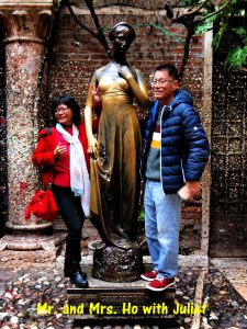 Mr. and Mrs. Ho with Juliet in Verona