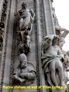 Marble statues on wall of Milan Cathedral