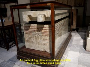 Ancient Egyptian scorphagus for a mummified dead body