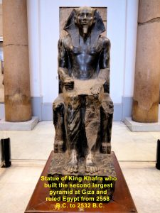 Statue of King Khafra, the builder of the second pyramid at Giza