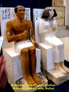 Statues of King Khufu's brother and wife