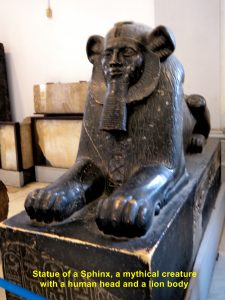 Statue of Sphinx, a mythical creature with a human head and a lion body