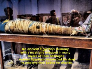 A mummy with a mask and wrapped in linen bandages