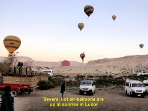 Several hot air-balloons are already in the sky at sunrise in Luxor