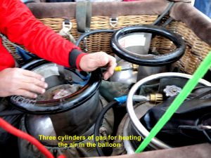Three cylinders of gas for heating hot air-balloon