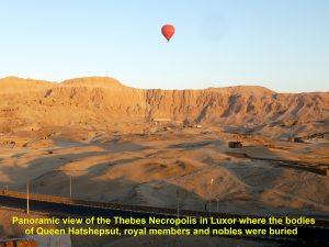Panoramic view of the Thebes Necropolis from the hot air-balloon