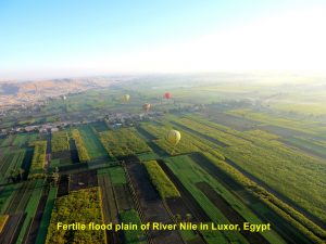 Aerial view of fertile flood plain of River Nile adjacent to Thebes Necropolis, Luxor