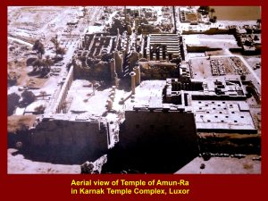 An old photo showing an aerial view of the Temple of Amun-Ra in the Karnak Temple Complex, Luxor