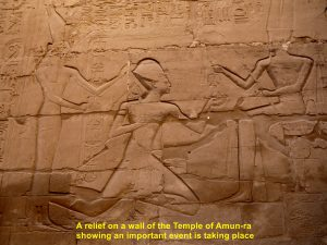 A relief on a wall of the Temple of Amun-Ra in the Karmak Temple Complex, Luxor