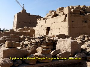 A pylon in Karnak Temple Complex is under restoration