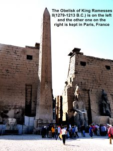 The Obelisk of Ramesses II on the left and the missing Obelisk of Luxor on the right(now in Paris, France) at the entrance of the Temple of Ramesses II