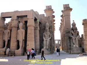 Courtyard of Ramesses II in the foreground and Colonnade Hall of Amenhotep III and Tutankhamun in the background