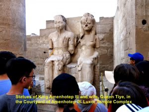 Statues of King Amenhotep III and his wife, Tiye, in the Courtyard of Amenhotep III, Luxor