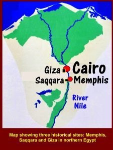 Map showing three historical sites: Memphis, Saqqara and Giza