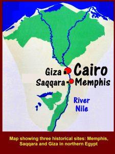 Map showing three historical sites: Memphis, Saqqara and Giza