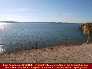 Lake Nasser, an artificial lake, created by the construction of the Aswan High Dam