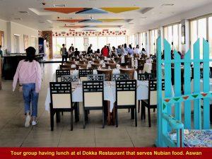 Tour group having Nubian lunch at el Dokka Restaurant, Aswan
