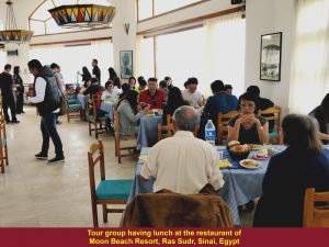 Tour group having lunch at Moon Beach Restaurant in Ras Sudr, Sinai Peninsula