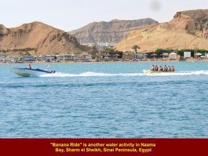 """Banana"" ride is another water activity for tourists at Naama Bay"